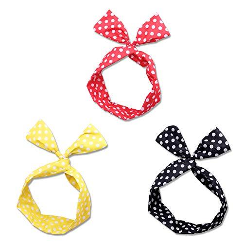 Yililay 3 PCS Frauen Felgen mit Bowknot-Punkt-Draht Felgen Bands nettes Haare für Frauen und Mädchen rot/schwarz/gelb Schmuck Zubehör