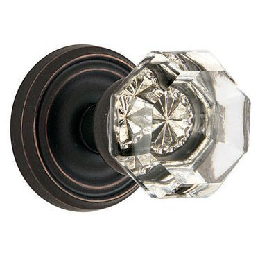 Emtek 8200-OT-US10B Old Town Clear Crystal Privacy Bed/Bath Door Knob, Regular Rosette, Oil Rubbed Bronze by Emtek