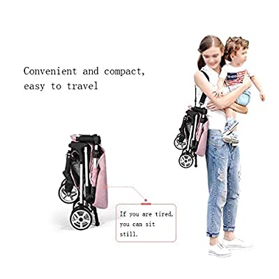 MU Comfortable Pushchairs Baby Pushchair Kid Pram,Folding Baby Stroller with Safe Five-Point Harness and Brake, Adjustable Backrest, 360 Degree Swivel Wheels, for 0-3 Ages,Pink