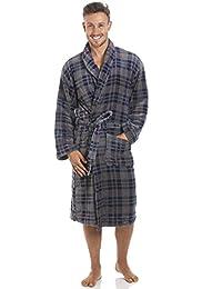 Robe de chambre pour homme polaire ultra douce col châle motif à carreaux bleu marine/gris