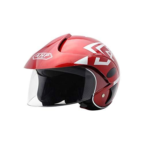 Tianxiu bambini Casco Moto Casco Moto Quattro Stagioni Electrico per Moto Mezza Casco da Fibra Di Carbonio Moto Unisex Vint