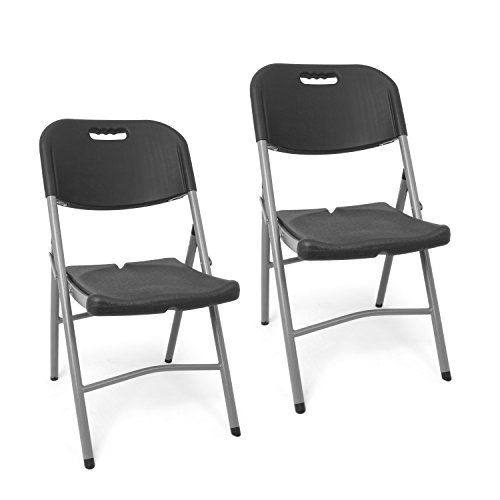 Park alley pa-8507 set sedia pieghevoli in plastica, grigio, 24x48x87 cm