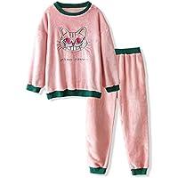 DUKUNKUN Pijamas Mujer Invierno Dibujos Animados Dulces Gato Bordado Espesar Pijamas Calientes Casuales,S