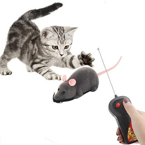 Xrten Peluche Topo Telecomandato Ratto,Wireless Giocattolo per Gatti,Giocattolo per Gatti(Grigio)