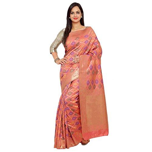 Varkala Silk Sarees Women's Art Silk Patola Saree With Blouse Piece(TD1118TM_Coral_Free Size)