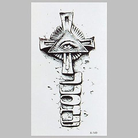 HJLWST® croce tatuaggio moda e tatuaggio adesivi occhio impermeabile