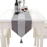 Elegante camino de mesa clásico Hangnuo para boda con borla y lentejuelas Rhinestone., plateado, 13*83inch