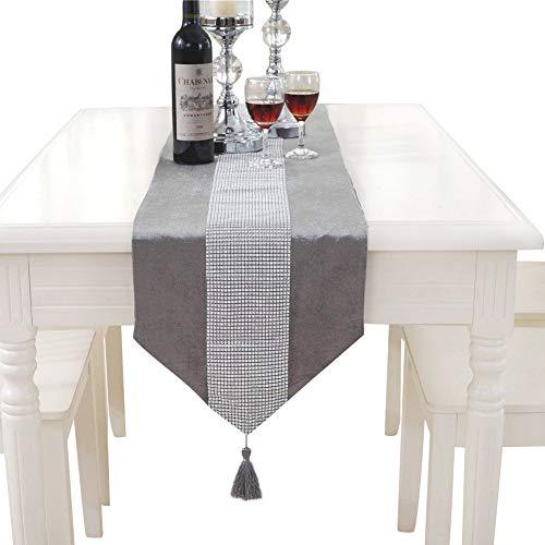 Elegante camino de mesa clásico Hangnuo para boda con borla y lentejuelas Rhinestone., plateado, 13*70inch