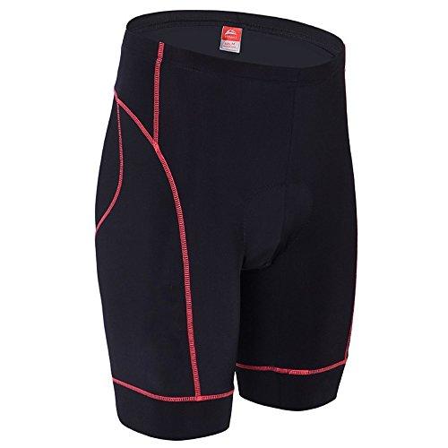 ALLY 3D Profesional Hombres Moldeado Acolchado Anti-Bac Ciclismo Culottes con Aire de Alta Permeabilidad - M/L/XL/XXL/XXXL opcional (Negro/Rojo, L 32'-34')