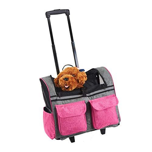 bc6fdcd40d Maxmer Trasportino per Animali Domestici, Carrello Confortevole per Cani e  Gatti, Trolley Zaino Pieghevole