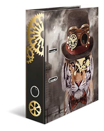 ner DIN A4 Steampunk Tiger, 7 cm breit aus stabilem Karton mit Folienveredelung und Innendruck, Ringordner, Aktenordner, Briefordner, 1 Ordner ()