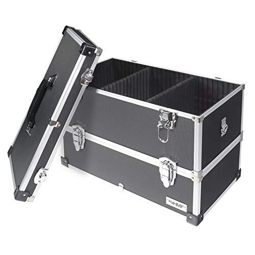 HMF 14660-02 Alu Werkzeugkoffer leer, 2 Etagen, 44 x 32,5 x 24 cm, schwarz