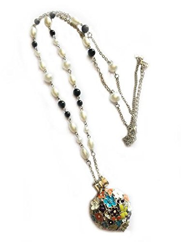 Jewel Queen Long Pearl Chain with multicolor Pendant Necklace For Women Ladies Accessories By JewelQueen