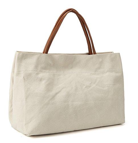 MaysUrban Sac en Toile Anse en Cuir Tote Bag Cabas Sac de Plage Grande Capacité Simple Elégant Décontracté - Beige