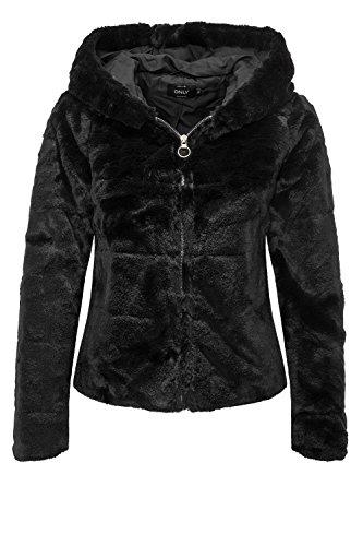 fake felljacke ONLY Damen Jacke onlCHRIS FUR Hooded Jacket CC OTW, Schwarz Black, 38 (Herstellergröße: M)
