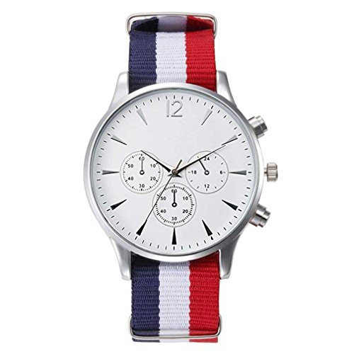FITT Orologi da polso analogici della vigilanza degli uomini della tela degli orologi degli uomini di lusso per retro impermeabile maschio (bianca)