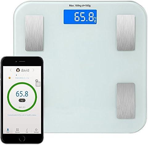 GPCT Bluetooth BMI Smart Scale (App pour iOS et Android, 8Index Mesures Y Compris les calories et du pourcentage de graisse, Auto on/off Step on, écran LCD, pieds antidérapants)–Blanc