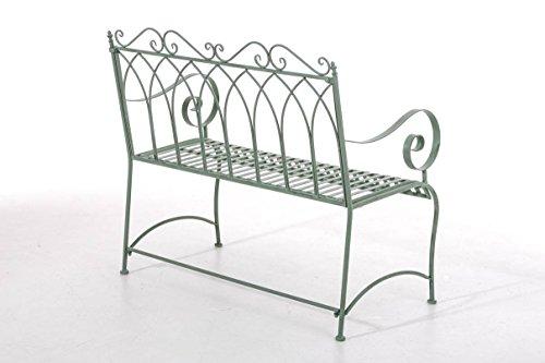 CLP Gartenbank DIVAN im Landhausstil, aus lackiertem Eisen, 106 x 51 cm – aus bis zu 6 Farben wählen Antik Grün - 3
