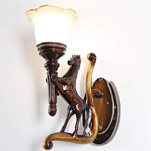 JU Gyy Accueil Hôtel Éclairage Gracieux Vintage Cheval Sculpture Applique Chambre Chevet Allée Escaliers Décoration Veilleuse (Design: Droit),Droite