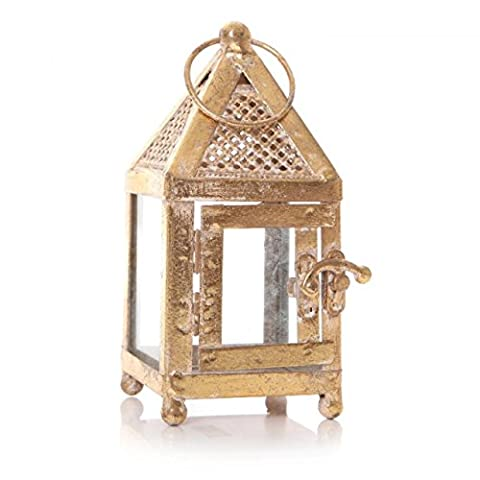 Moroccan Gold Hurricane Lantern Garden Glass Pillar Tealight Candle Holder 17cm