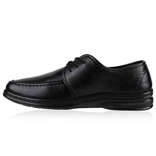 Klassische Herren Halbschuhe | Business Schuhe Schnürer | Schnürschuhe Leder-Optik | Basic Look Schwarz Carlton