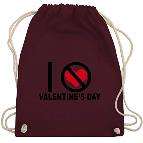 Valentinstag - I hate Valentine's Day - Unisize - Bordeauxrot - WM110 - Turnbeutel & Gym Bag (Anti Valentinstag Kostüm)