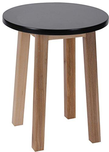 Tisch Kleiner Runder (Holz Blumenhocker schwarz - Pflanzenhocker Blumentisch Deko Hocker Holzhocker klein)