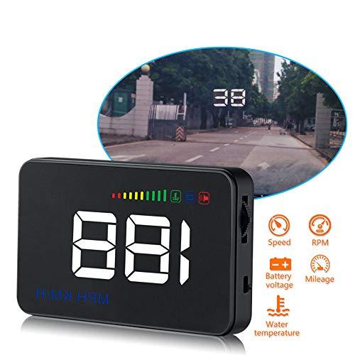 Auto Universal HUD Head Up Display OBD II Allarme di velocità eccessiva Allarme di temperatura dell'acqua, temperatura dell'acqua, tensione