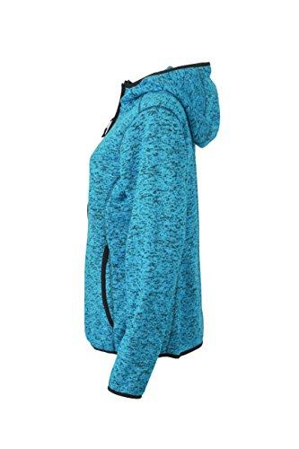 James & Nicholson Damen Sweatshirt Fleece Ladies'Knitted Fleece Hoody Blue-Melange/Black