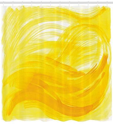 Cortina de Baño amarilla efecto acuarela 175 x 200 cm
