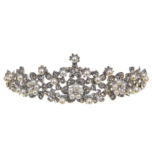 Topwedding Crystal Bridal/Bridesmaid Wedding Tiara Crown Headpiece with Pearl and Rhinestone, women