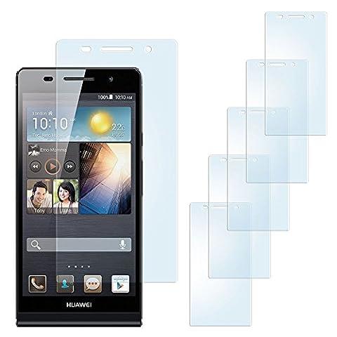 5x Huawei P6 Schutzfolie Matt Display Schutz [Anti-Reflex] Screen protector Fingerprint Handy-Folie matte Displayschutz-Folie für Huawei Ascend P6 Displayfolie