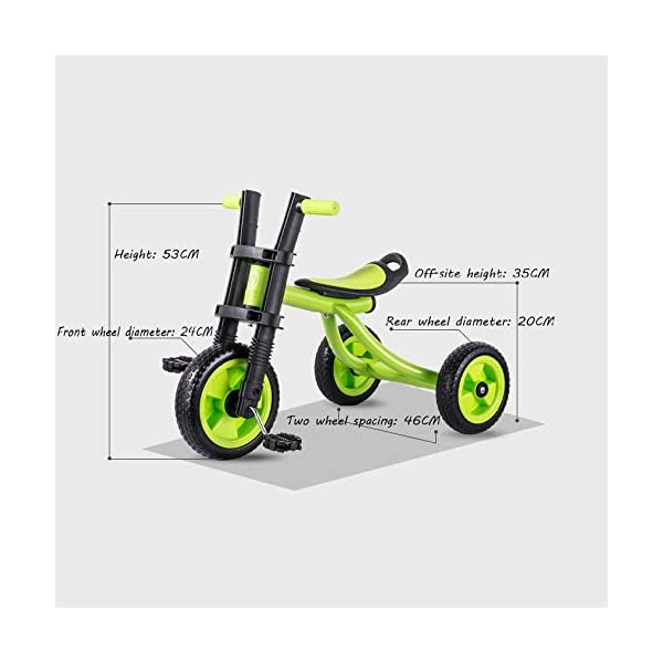 BGHKFF Childrens Tricycles 2 To 5 Years Anti-slip Pedals Kids Tricycle The Seat Can Be Adjusted Back Child Trike Maximum Weight 25 Kg,Green BGHKFF ★Material: Steel frame + TPR plastic, suitable for children aged 2-5, maximum weight 25 kg ★ Size: 57*25*37cm/22.4*9.8*14.5inchs ★Features: The frame is made of steel, high-strength argon arc welding technology, strong and firm; the front fork of the handlebar is integrated, anti-bias, anti-dislocation, anti-loose; rear-wheel quick-disconnect design, easy to disassemble; 6