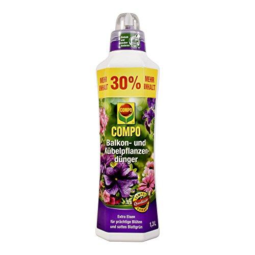 COMPO Balkon- und Kübelpflanzendünger für alle Balkon- und Kübelpflanzen, Spezial-Flüssigdünger mit extra Eisen, 1,3 Liter