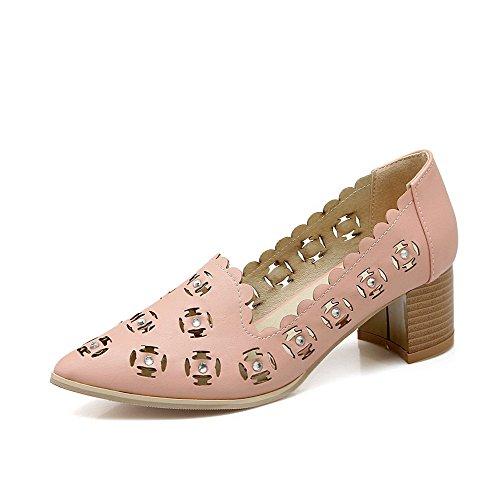 AgooLar Damen Mittler Absatz Weiches Material Rein Ziehen Auf Spitz Zehe Pumps Schuhe Pink