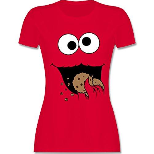 Zwei Freunde Lustige Für Kostüm - Karneval & Fasching - Keks-Monster - XXL - Rot - L191 - Damen Tshirt und Frauen T-Shirt