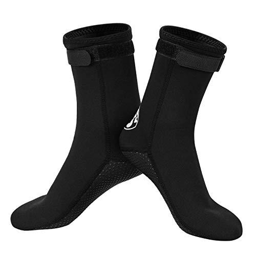 Qkurt Calcetines de Neopreno, Calcetines de Neopreno de 3 mm para Buceo, Snorkel y Deportes acuáticos, Calcetines Antideslizantes para Hombres...