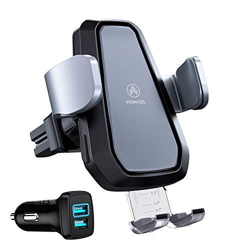 VANMASS Wireless Charger Auto Handyhalterung Lüftung Automatische Smartphone Halterung Kit mit Autoladegerät 3,0 10W/7,5W Qi Elektronisch Handyhalter für Auto iPhone XS/X Galaxy S10/S10+ (Grau)