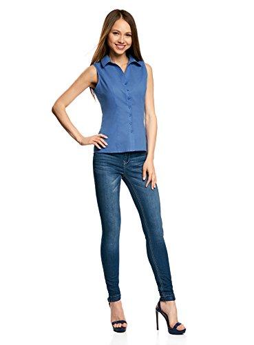 oodji Ultra Femme Chemise Basique sans Manches Bleu (7500N)