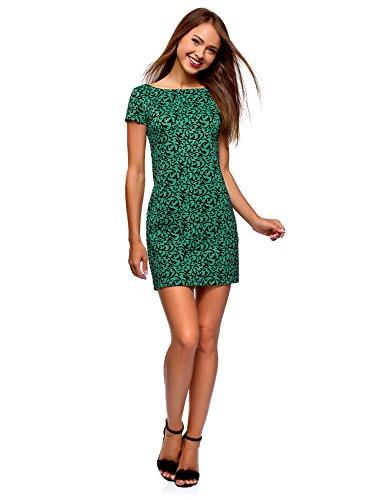 oodji Ultra Mujer Vestido de Felpa Estampado, Verde, ES 40 / M