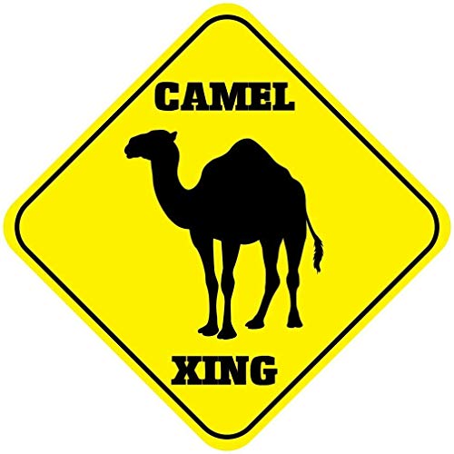 DOGT Metal Sign 12x12 inches Camel Crossing Funny Metal Aluminum Novelty Sign -