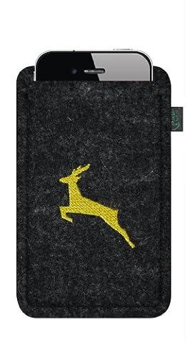 Filztasche für iPhone 4/S, 3, Filzfarbe anthrazit, bestickt mit Motiv springender Hirsch