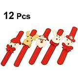 Toyvian 12pcs Slap Bracelets With LED Lights Santa Claus Snowman Reindeer Decirations Christmas Party Favors Xmas Wristband For Kids Boys Girls