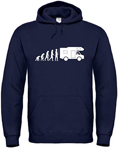Textildruck Universum Hoodie Caravan Evolution S bis 5XL (S, Dunkelblau)