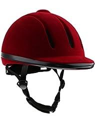 Casco De Equitación Ventilado Seguridad Monta Western De Bajo Perfil Sombreros Ecuestre - Rojo, S