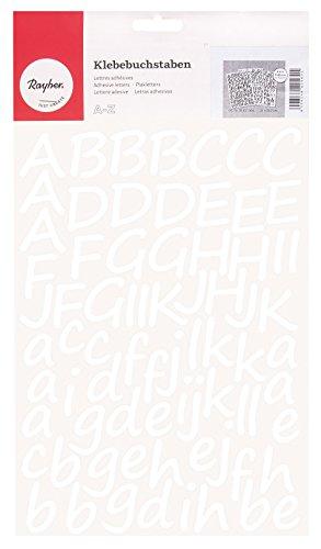 Rayher Hobby 38921000 Klebebuchstaben, groß und Klein, weiß, Schreibschrift, 3 cm, Selbstklebend