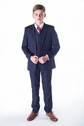 Romario Jungen Navy Anzug, Jungen Hochzeit Anzug, Page Boy Anzug, Abschlussball Anzug, 3–6m bis 14Jahre, Blau (Jungen Navy Anzug)