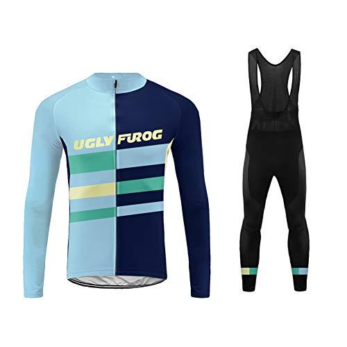 Uglyfrog HISLJT12 Completo Impostato MTB Uomo Manica Lunga da Ciclismo+Lunga Pantaloni da Ciclismo Body Primavera Style Traspirante con Cerniera Lampo Full-Zip da Uomo