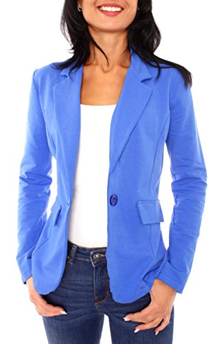 Damen Sommer Sweat Jersey Blazer Jacke Sweatblazer Jerseyblazer Sakko Kurz Ungefüttert Langarm Uni Einfarbig Royal S - 36 (M) (Royal Blauer Blazer)