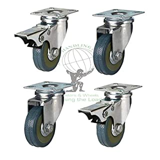 Atlas Handling Uk Ltd 4 Swivel Heavy Duty Rubber Castor Wheels 50mm Trolley Furniture Caster Brake